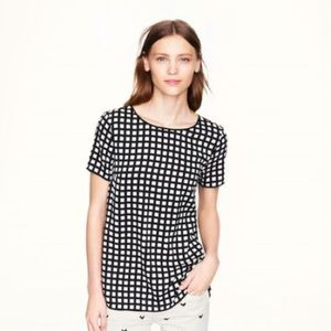 JCrew black and white grid top